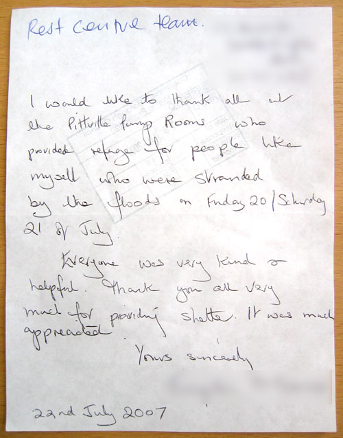 A thank you letter from someone who took refuge in Pittville Pump Room during on 20/21 July