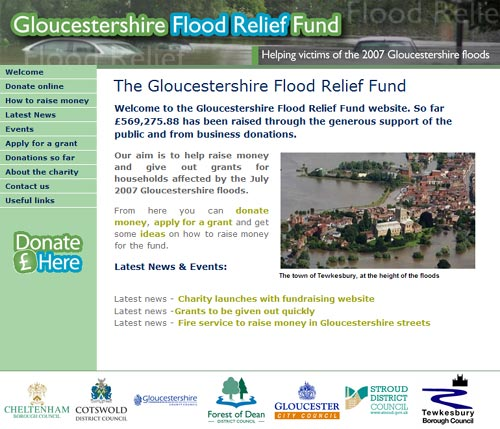 screenshot of the Gloucestershire flood relief fund website